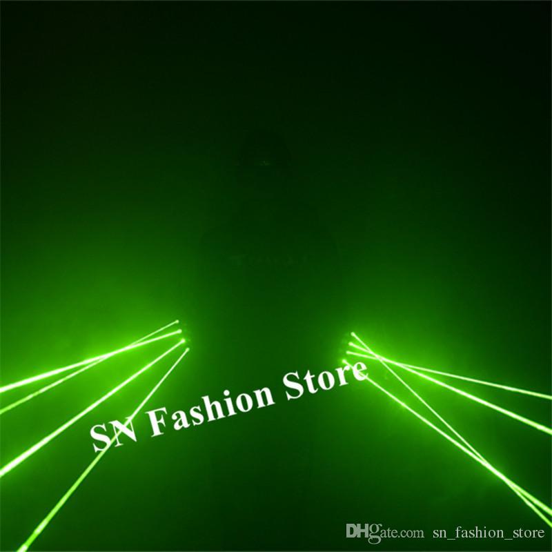 SJ82 Rechargeable green laser gloves dj dance wears led costume robot man show laser man projector 4pcs heads party event disco performa dj