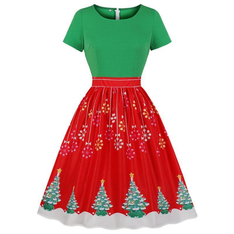 Mode Couleur Bloc rouge et vert Robe de Noël Robe à col rond manches courtes Arbre de Noël Robe rétro Nouvelle fête Vestidos