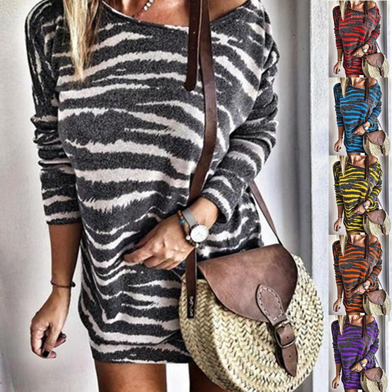 Elbise Kadınlar Scoop Boyun Çizgili Etek Kadın Uzun kollu elbise Kadın Moda Giyim Kadın Flora Baskılı