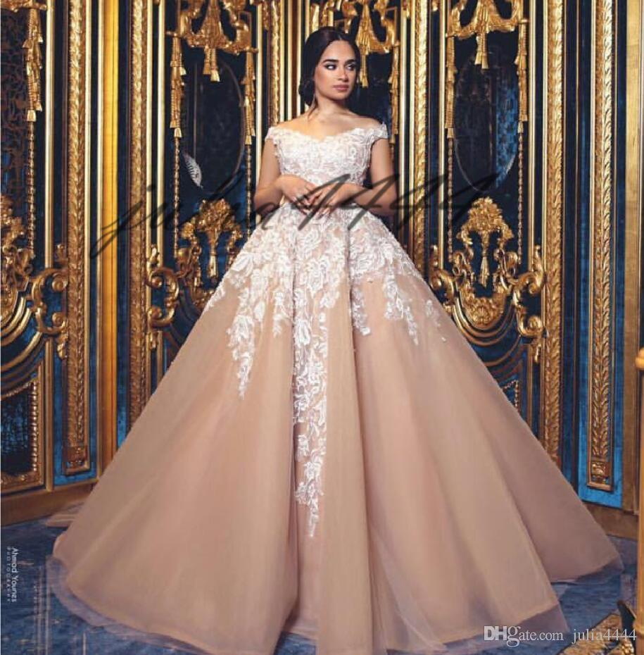 Erröten Sie Rosa aus der Schulter Vintage Ballkleid ärmellose Brautkleider 2019 Spitze Applikationen geraffte Kirche Brautkleider Vestidos