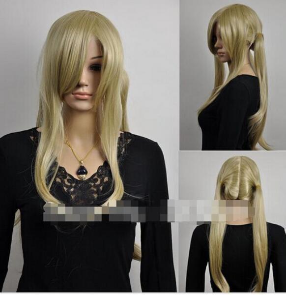 무료 SHIPPING + 패션 금발 긴 스트레이트 풀 여성 합성 2 개의 머리 장식 코스프레 가발