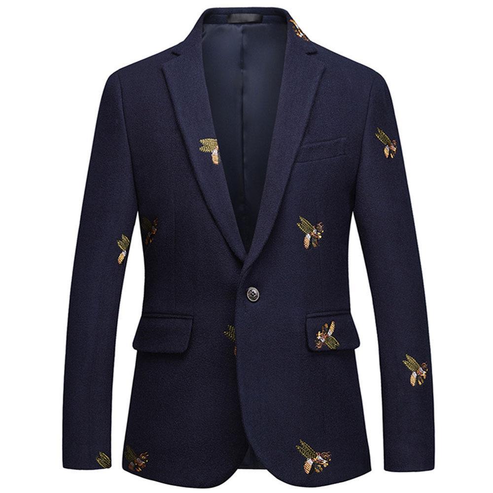 Вышивка пчелы пиджак Slim Fit Masculino Abiti Uomo 2019 Свадебные выпускные блейзеры Твид шерсть для мужчин Стильный пиджак
