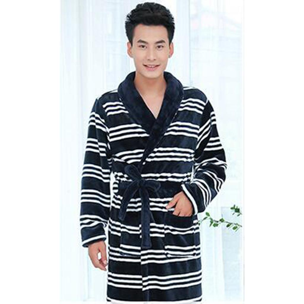 Men's Soft Pajama Sets Robe Winter Long Bathrobe Male Popular Men Pajamas Comfy Sleepwear Men Soft Nightgown Nightwear Blue