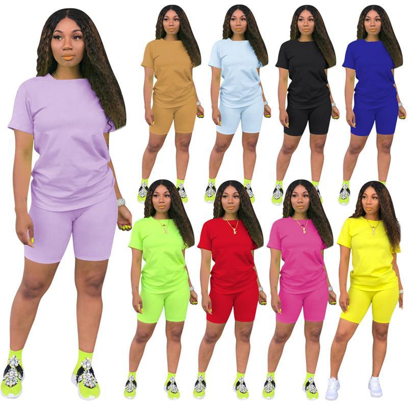 2-teiliges Set Outfits Frauen feste beiläufige T-Shirts und knielangen Shorts Bodycon dünne Hosen Frauen Anzüge 4XL viele Farben