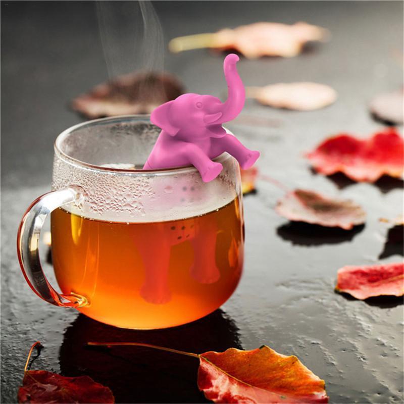 Cute Cartoon Tea Infuser Silicone Animals Elephant Shape Mug Cup Loose Leaf Herb Spice Filter Tea Infuser for Tea Drinkware
