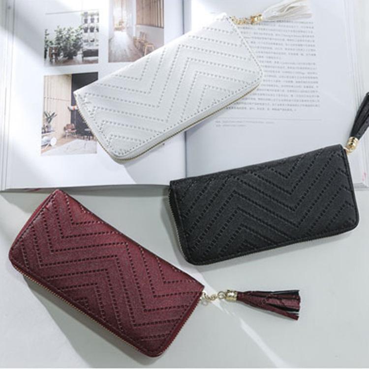 Sac d'embrayage Femme Long Multi-Card Porte-monnaie Tassel Téléphone 2020 Nouveau Portefeuille Zip Coin Portefeuille VWTDN
