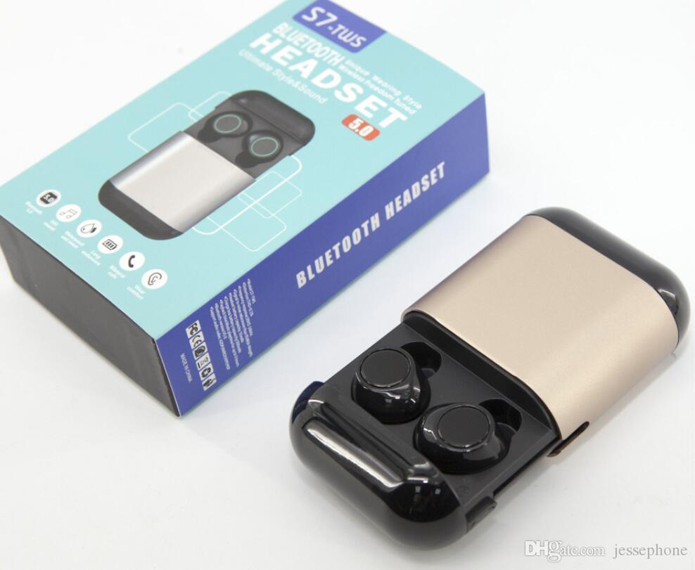 S7 TWS sem fio Bluetooth Headphones Mini Twins auriculares Bluetooth 5.0 Fones de ouvido estéreo verdadeiro Sports Headsets Earphones Com Mic carregamento Box