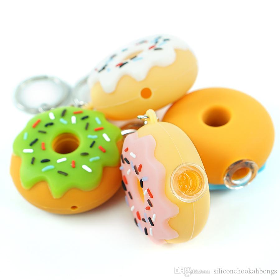 wholesale Donut Style Silicone small Oil Burner Pipes Handcraft Colorful hand Pipe Pyrex Smoking Pipes with key-chain and metal bowl