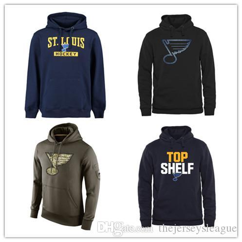 St. Louis Blues Mens Sweatshirt Salut au Service Sideline Therma Performance Pull À Capuche Marine Noir Olive Hockey Jersey Livraison Gratuite
