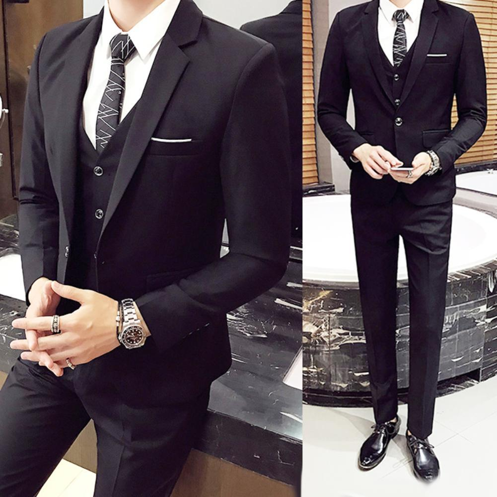새로운 (재킷 + 바지 + 조끼) 3PCS / 세트 럭셔리 플러스 사이즈 남성 정장 비즈니스 조끼 재킷 턱시도 웨딩 정장 정장 블루 클래식 블랙