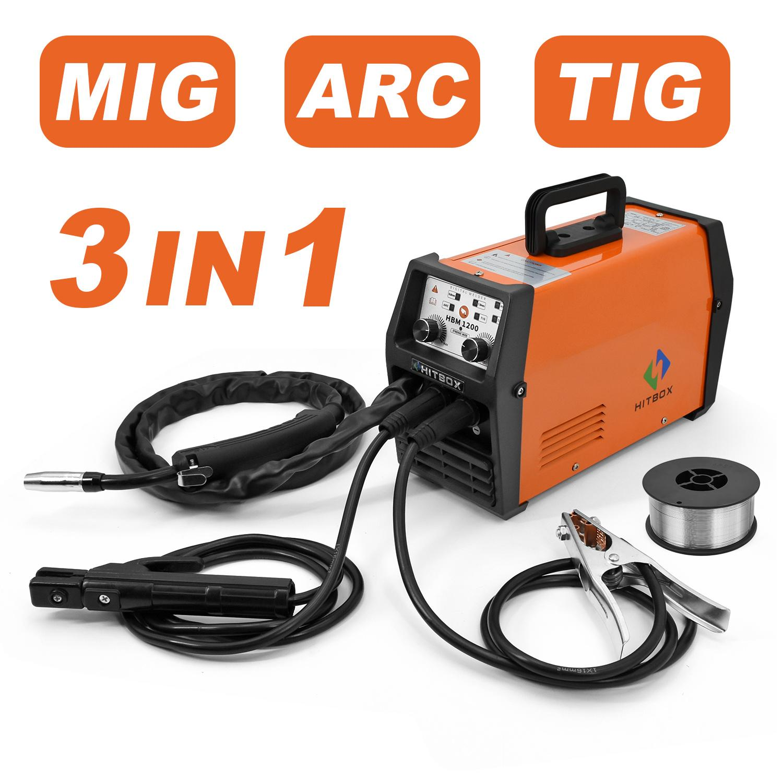 Hitbox 3in1 MIG Weldr 220V ARC LIFT TIG Flux núcleo do fio IGBT Soldador MIG Máquina