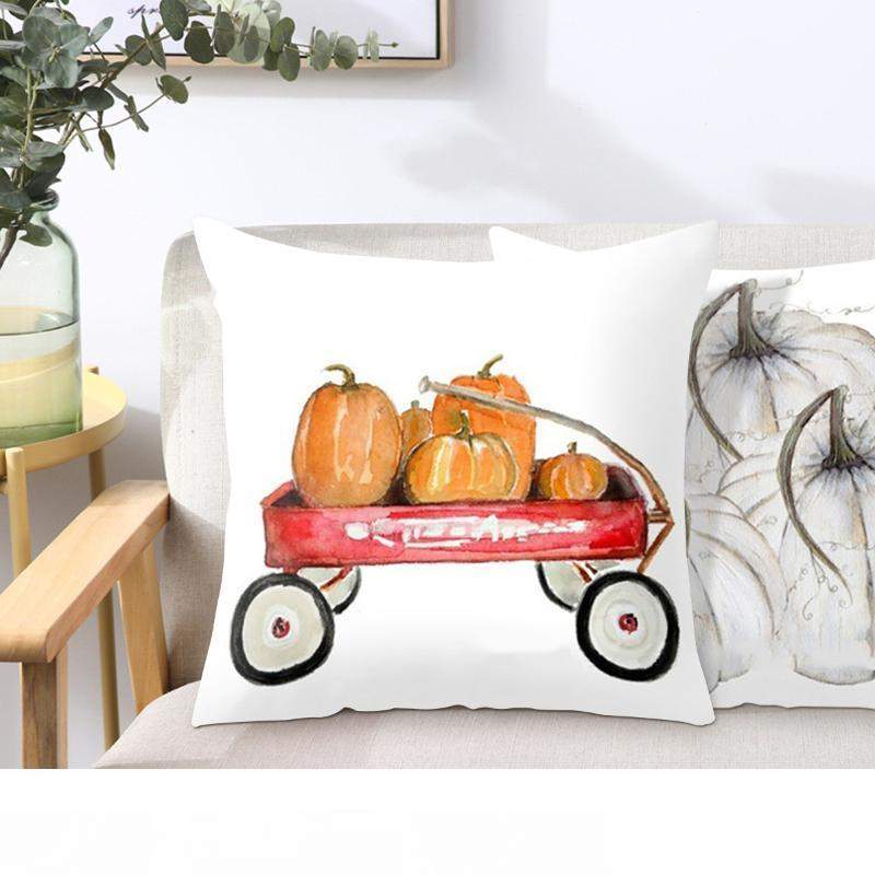 Aquarelle Citrouille peau de pêche Taie d'oreiller Coussin lombaire taie d'oreiller pour Canapé Chaise siège Coussin de voiture couverture Décor Case