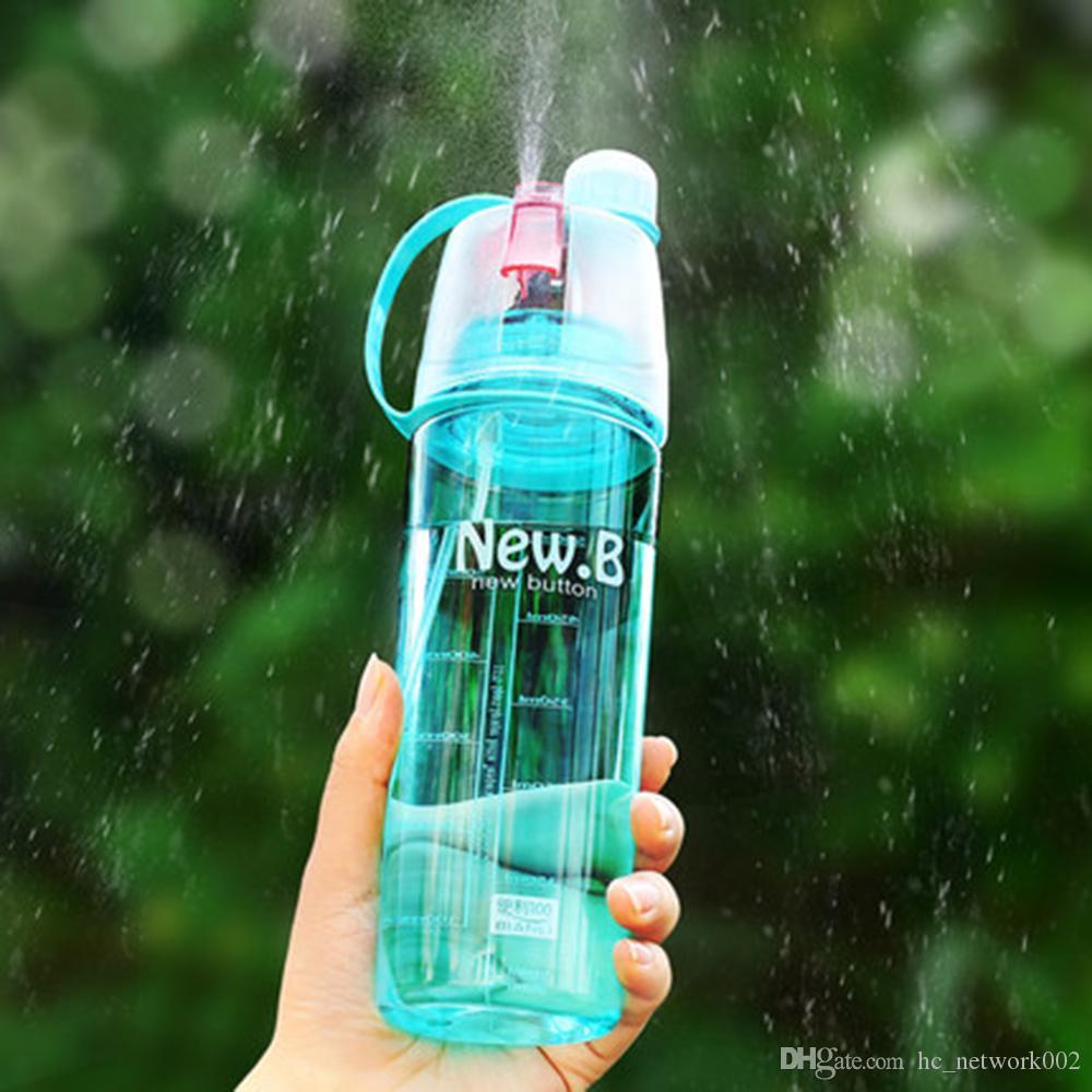 400ML 600ML Creative Spray Sports Plastic Water Bottle Professional Sports Bottle Outdoor Hiking Sports Gym Portable rociar agua deportes