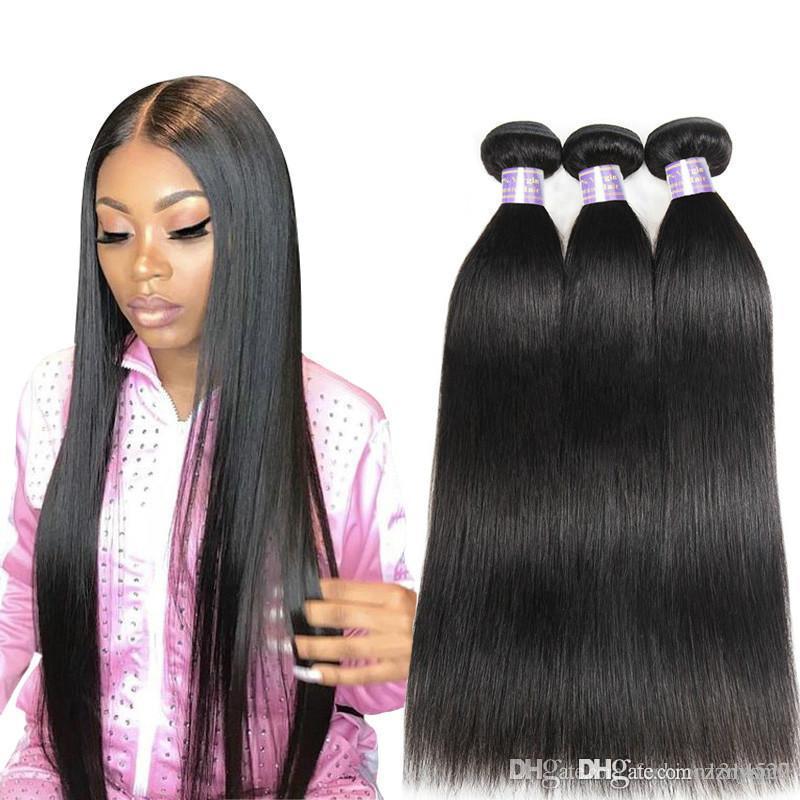 Allove Straight Bundles Brazilian Hair Weave Bundles 100% Bundles Natural Color Non Remy Hair Weave Free shipping