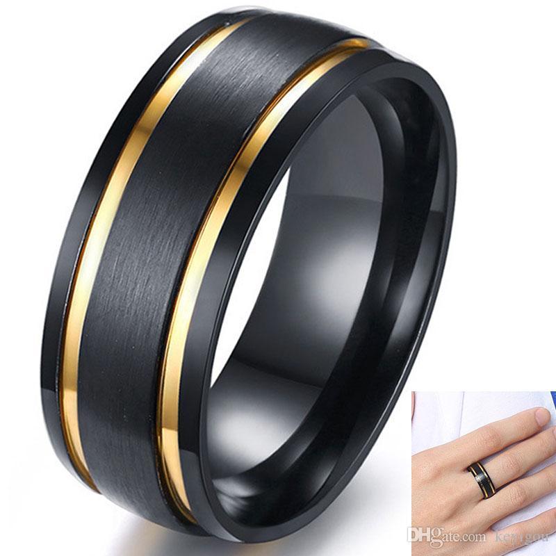 8MM Anneau élégant d'or pour hommes Wedding Bands noir brossé ton double rainuré Homme Boy Finger Rings Cadeau Comfort Fit