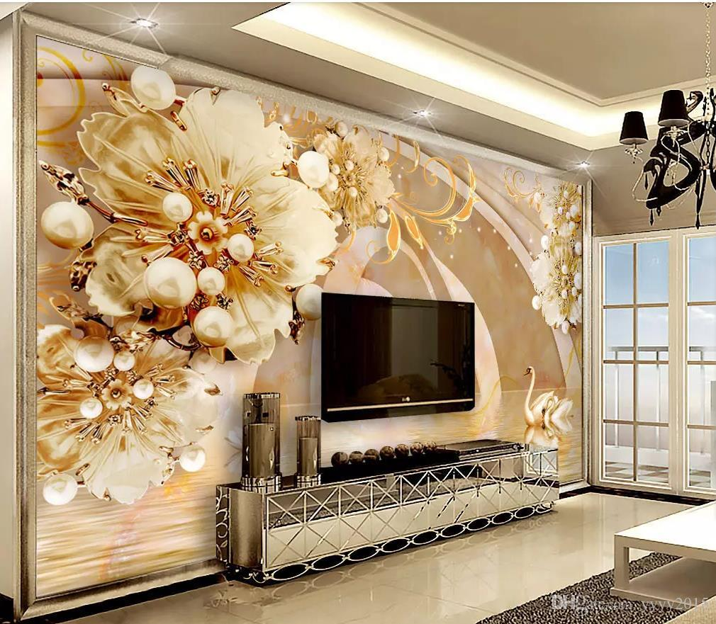 Transparent Floral Swan Lake Jewelry Background Wall Modern
