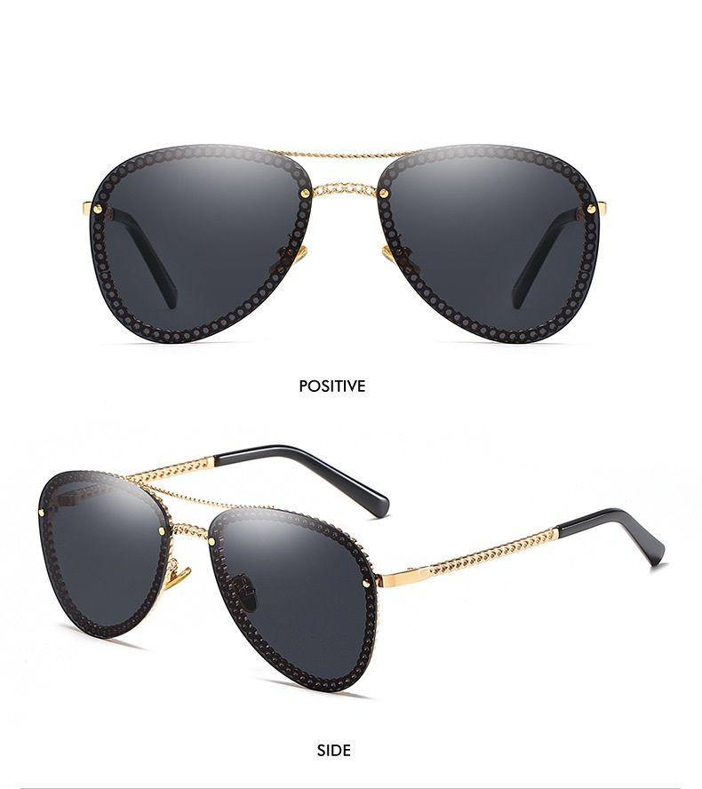 سلسلة معدنية تصميم نظارات عدسات الرجال أزياء النساء نظارات شمسية نظارات الزجاج عالية الجودة النظارات الشمسية الكلاسيكية