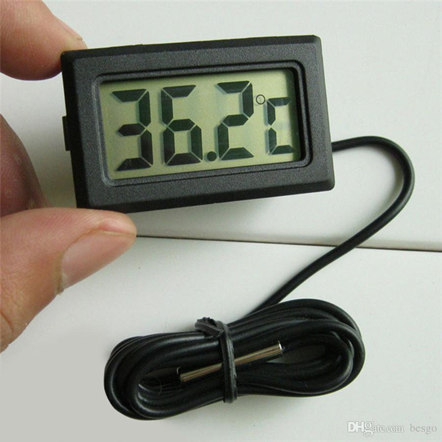Großhandel Mini Digital LCD Temperatur Instrumente Elektronische Thermometer Sensor Temp Tester Langlebig Präzise Digital Temp Meter DH1235 T03
