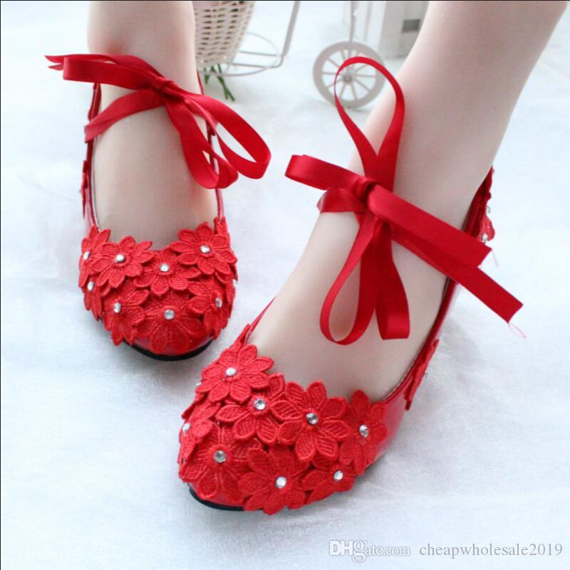 Red Color Lace Flowers Pumps Shoes For