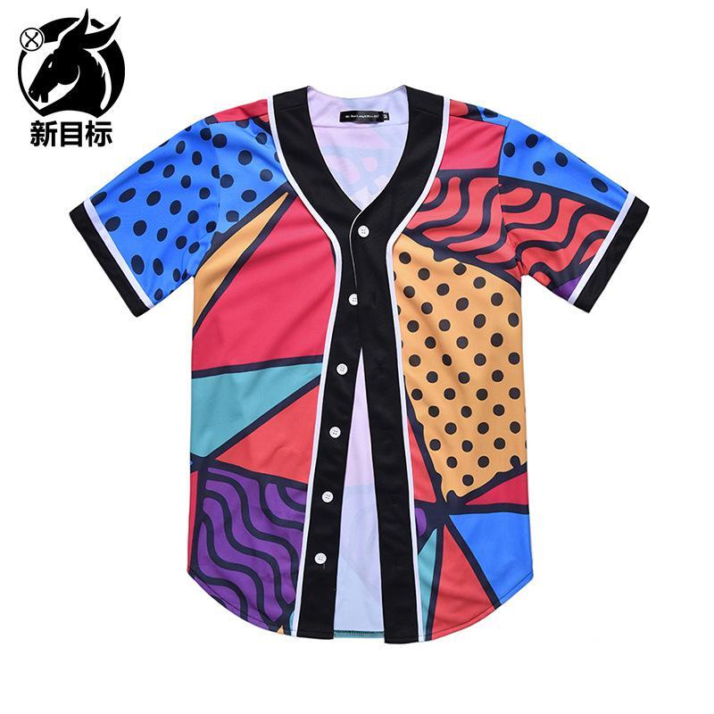 الحدود عبر نيابة عن 2019 نمط جديد البيسبول قميص الهندسة مختلط الألوان المطبوعة البيسبول الموحدة قصيرة الأكمام الصيف [ستر]