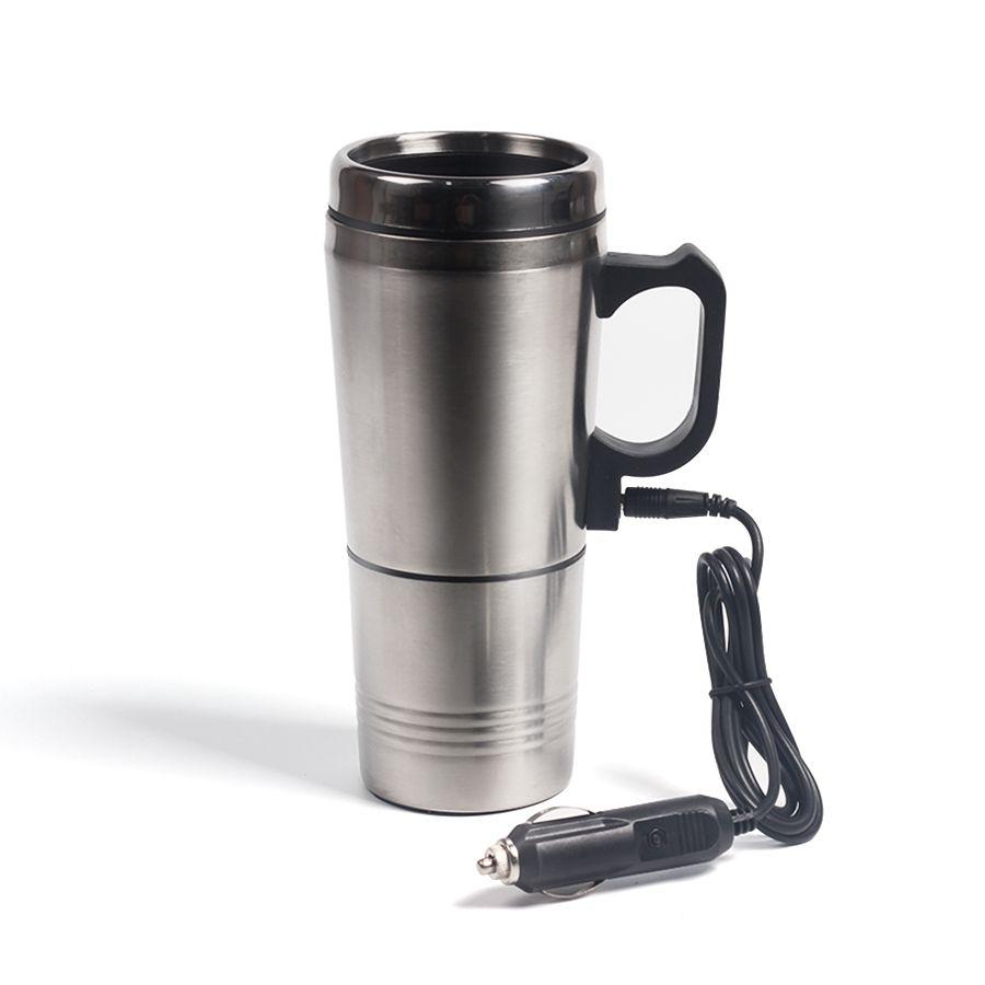 Acier inoxydable Argent voiture eau portable Chauffage café Thermos Type de Boisson chaude Chauffe-eau 12V Mini voiture électrique bouilloires