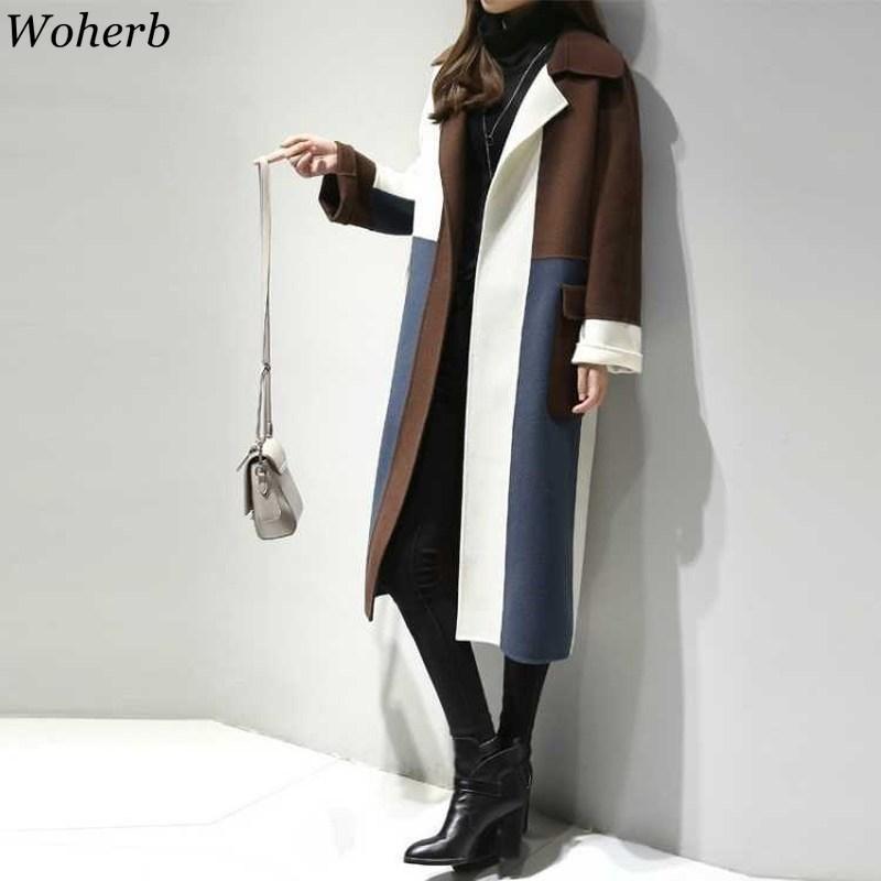 Woherb 2019 Autunno Inverno donne cappotto e la giacca di contrasto della rappezzatura a maniche lunghe a righe cappotti di lana casuale Streetwear Outerwear