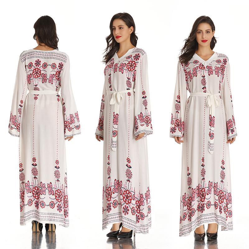 Donna V Neck abito da musulmano Dubai caftano per manica lunga donne arabe lungo abito Abaya abbigliamento islamico Ragazze Jalabiya Caftano