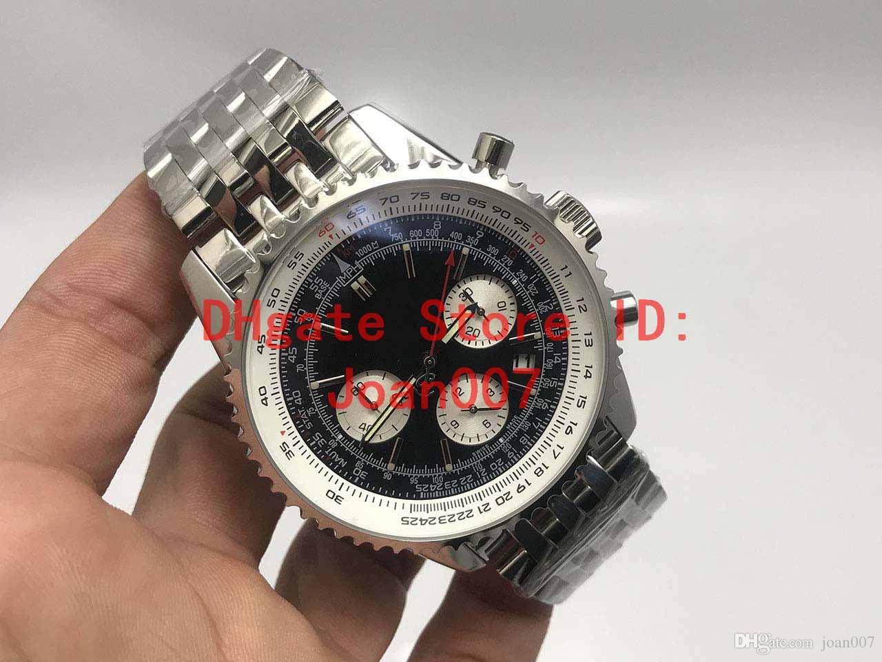 Montres célèbres Montre de Luxe Quartz Chronographe Cadran Bleu 316L Argent Bracelet en acier Mens Montre sport Hight 46mm Qualité