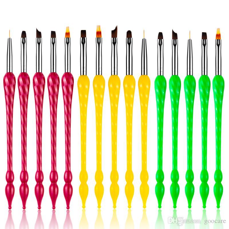 5pc Nail Art zucca Fiore pittura Consigli Liner Brush Disegno Gradient francese a testa piatta Pen Shading manicure fai da te Design Strumenti Set