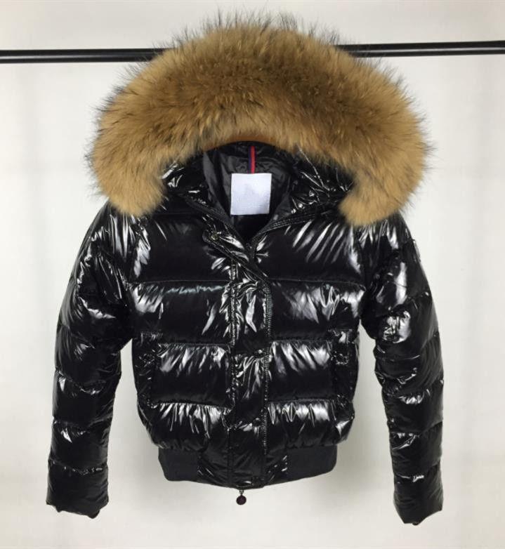 Alta qualidade de marca Mulheres Winter real do branco da pele Duck Down Jacket Mulheres Zipper curto com capuz Inverno casaco quente