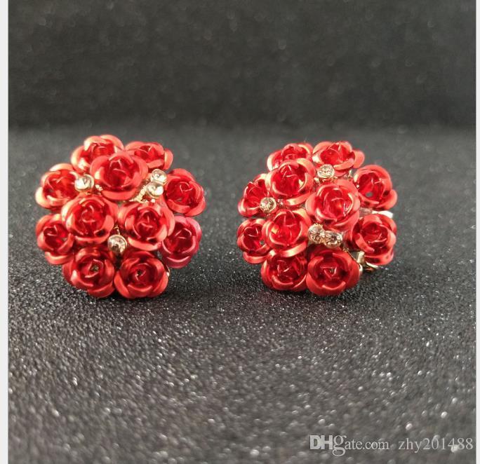 Versão coreana de flor temperos orelha de pregos, botões de orelha rosa, grandes brincos e brincos