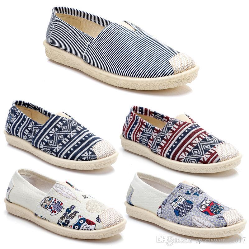 2020 a buon mercato scarpe da donna Non-marca Vintage scivolare su Espadrillas Scarpe Flats scarpe casual tela classica Mocassini Sneakers 36-40 item # 19