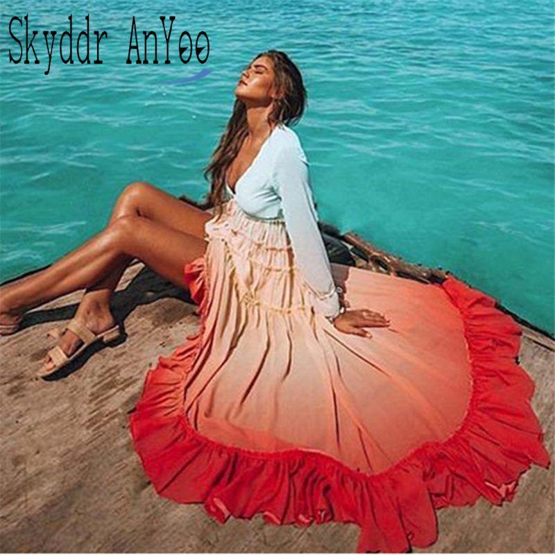 2020 Mulheres de Verão Boho Maxi vestido do arco-íris, Gradiente de cor manga comprida Botão elegante vestido Praia Cardigan soltas Casual Vestidos T200623