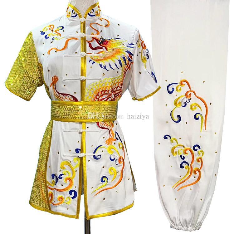 중국 Wushu Uniform Kungfu 의류 Taolu 의상 무술 무술 복장 자수복 루틴 기모노 남성 여성 소년 소녀 키즈 성인