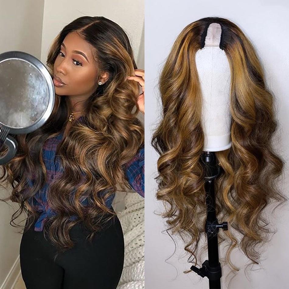 تسليط الضوء على البرازيلي أومبير الانسان الشعر الباروكات U جزء لللمرأة السوداء 150Density غير الرباط ريمي الشعر الباروكات الأوسط المفتوحة Upart الباروكات