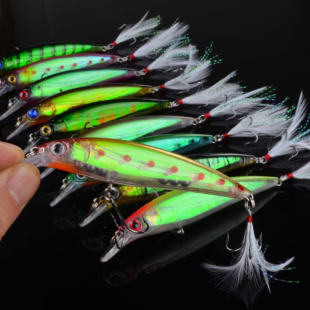 10pc de qualité supérieure pêche Tackle 4 # Crochet noir avec plume Leurres 10color