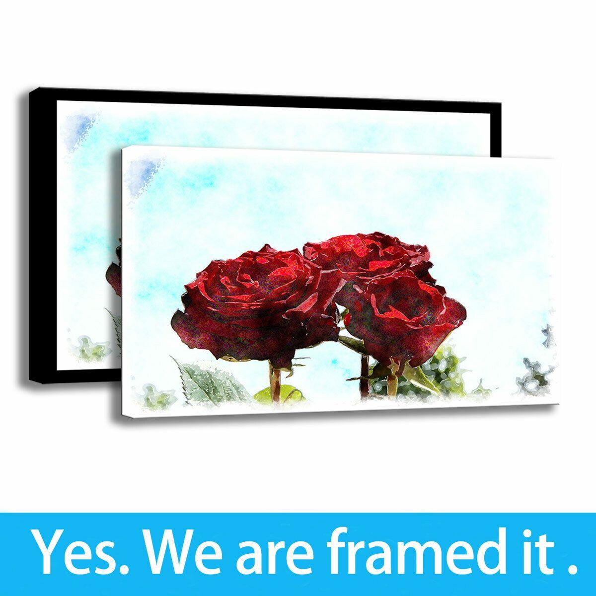 Acquerello Rose pittura a olio di arte HD Stampa Fiore per Office decorazione su tela artistica con cornice - pronta per essere appesa - Framed