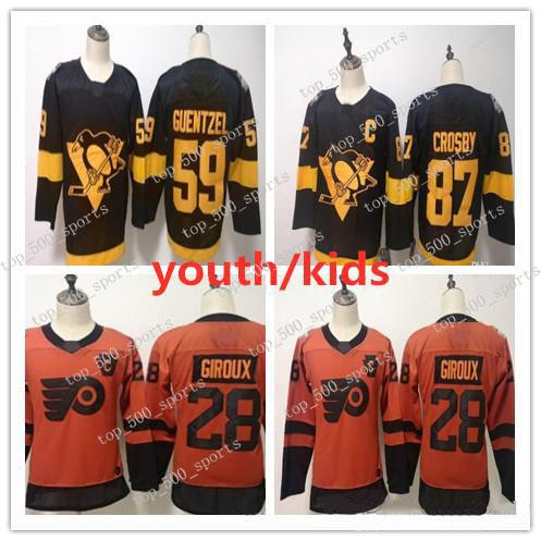 Juvenil 2019 Series Estadio Jersey para niños Pittsburgh Penguins Sidney Crosby 87 59 28 Guentzel Claude Giroux Philadelphia Flyers para niños Jersey Boys