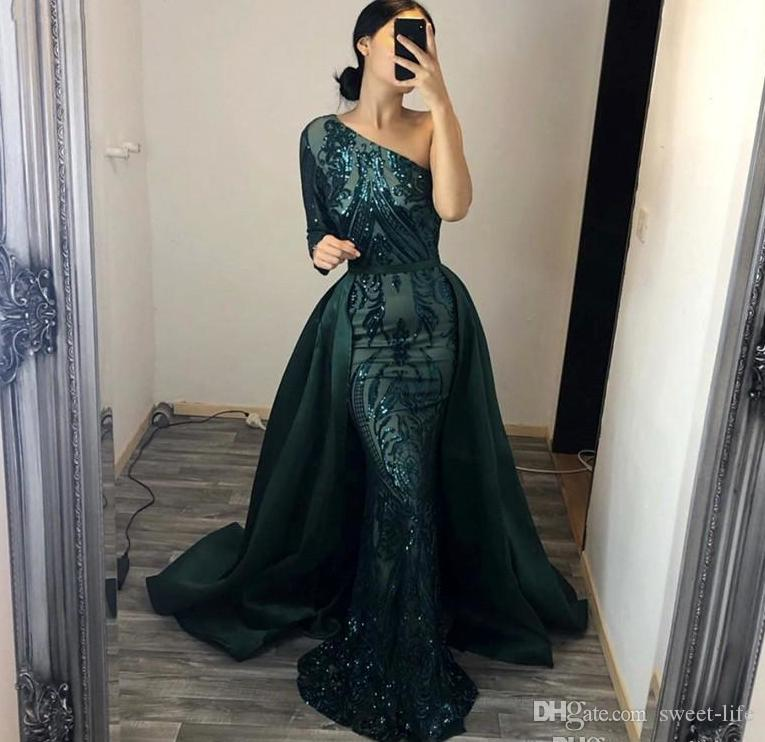 2020 Sparkly Sequined Mermiad Evening Dress with Detachable Train Vintage One Shoulder Long Sleeves Prom Dresses Formal Party Pageant Gown
