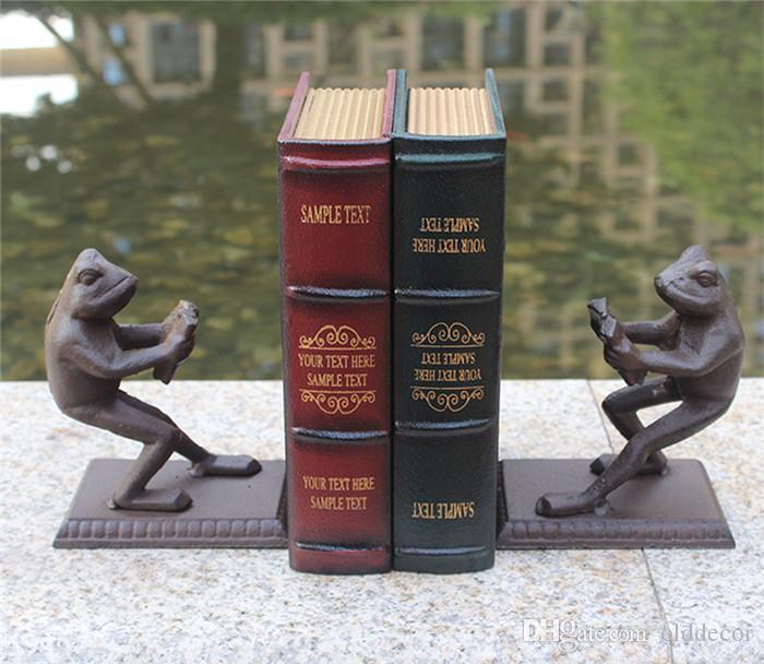 2 Piezas de hierro fundido de la vendimia libro termina sujetalibros rústico rana Soporte de libro Tabla Study Desk Home Office Decor animal antigüedad artesanía de metal de Brown