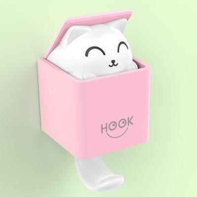 Yaratıcı Komik Kutu Kediler 4 Renkler Güçlü Viskon Plastik Kanca Ev Dekorasyonu Giyim Şapka Asma Araçları 08 Hook