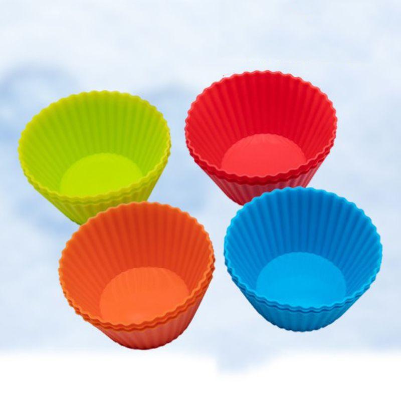 3inch silicone bigné stampo per muffin Casi di figura rotonda della torta della tazza della muffa di cottura della torta SGS Pans Bakeware della pasticceria Tools 8 colori DBC DH1353