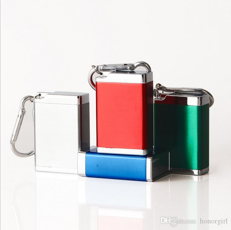 Pocket Ashtray Keychain Carabiner Smoking Accessories Square Cigarette Ash Tray Holder Tool 4 Colors For Hookahs Bongs Oil Rigs
