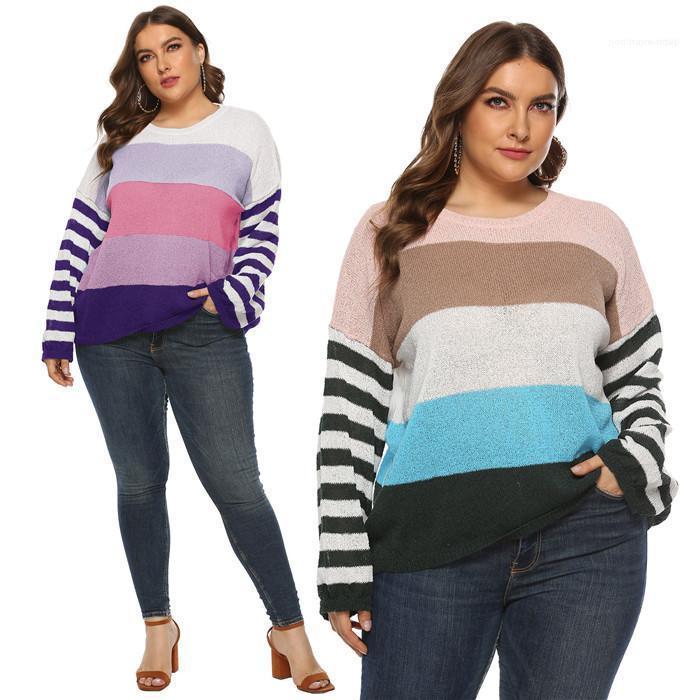 Estilo Casual Vestuário Plus Size Womens Outono Designer Camisolas Crew Neck Long Sleeve Stripe Imprimir Feminino Roupa Moda