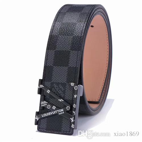 Nueva manera de los hombres de negocios Cinturones de lujo CEINTURE Smooth hebilla de plata de oro correas de cuero genuino para los hombres cinturón de cintura envío
