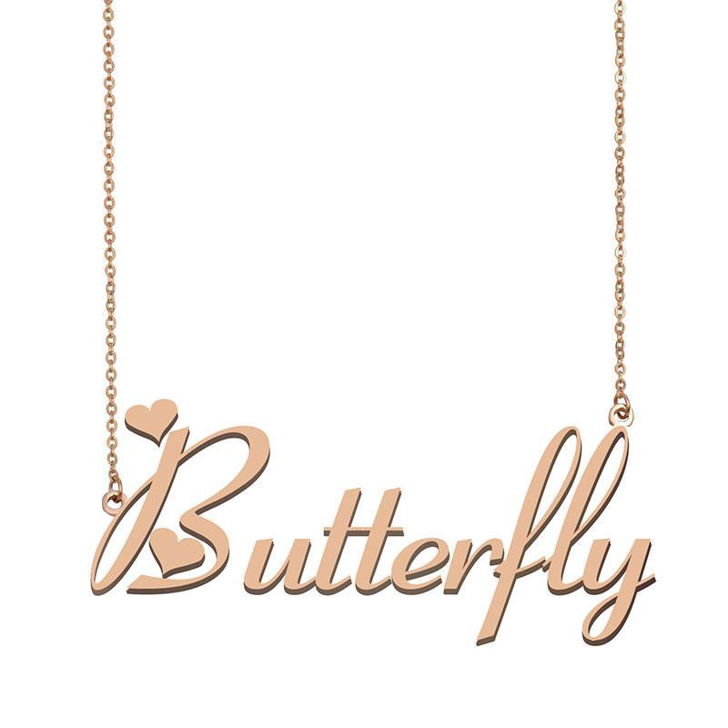 Schmetterlings-Namenshalsketten-Anhänger für Frauen-Mädchen-Geburtstags-Geschenk Individuellen Typschild Kinder Best Friends Schmucksachen 18k Gold überzogener Edelstahl