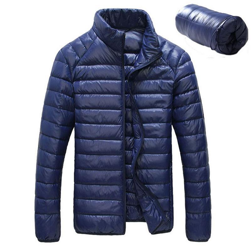 Men's Down Parkas Hombres Chaqueta de invierno 2021 Ultra Light 90% Chaquetas blancas de pato Casual Portable Abrigo para más Tamaño 4XL 5XL 6XL