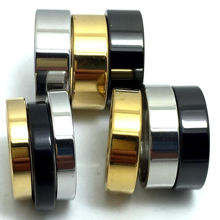 100pcs 4 6 anneaux de mariage en acier inoxydable simple bande de 8 mm Mode plat Hommes Femmes Classique Bagues Lots de bijoux en gros