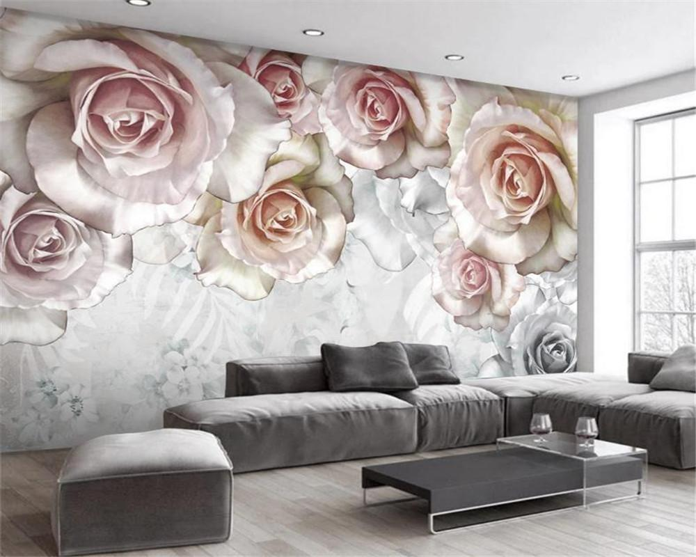 El papel para pared 3d para el dormitorio romántico aceite de la flor moderna de la pintura de fondo Pastoral americana TV pared decoración mural del papel pintado
