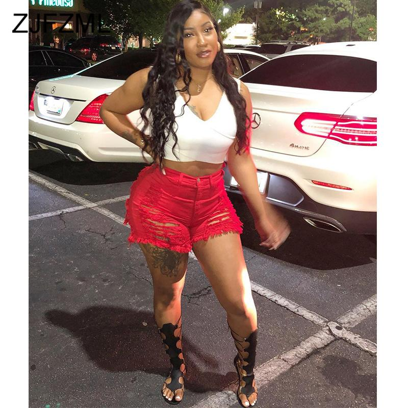 High Waist Ripped Red Denim Shorts for Women Vintage Bodycon Club Washed Jeans Biker Shorts Summer Plus Size Sexy Mini